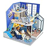 Spilay DIY Miniature Dollhouse Wooden Furniture Kit,Handmade Mini Modern Duplex Home Model with Dust Cover & Music Box ,1:24 Scale 3D Puzzle Creative Doll House Toys for Children Adult Gift