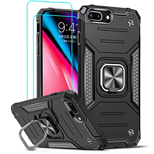 LeYi Compatible with iPhone 8 Plus Case, iPhone 7 Plus Case, iPhone 6 Plus Case with 2 Tempered Glass Screen Protector, [Military-Grade] Phone Cover Case with Ring Kickstand for iPhone 6s Plus, Black