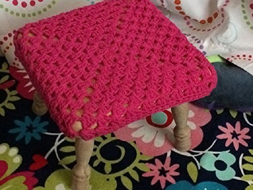 Hot Pink , Black, Brown, Green or Purple Crochet Square stool cover for Baby Nursery or Home decor
