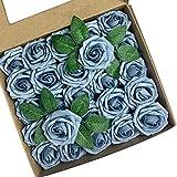 ACDE 25 Piezas Rosas Artificiales, Flores Artificiales Rosa Espuma con Hoja y Vástago Ajustable para Bricolaje Ramos de Boda Decoraciones para el Hogar Nupciales (Azul Polvoriento)
