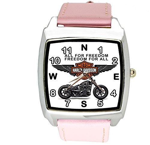 Harley Davidson quarzo quadrato orologio sportivo rosa fascia