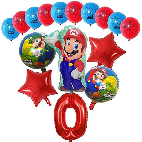 Globos 16pcs Dibujos animados Super Mario Luigi Bros Bloons Set 12inch Latex 30 pulgadas Número Globo Decoraciones de fiesta de cumpleaños Decoraciones para niños Regalo ( Color : Red number 0 set )