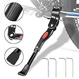 WisFox Bike Kickstand aleación de aluminio lateral de bicicleta ajustable función atril para bicicleta con oculta resorte pestillo, para 24 - 29 pulgadas ligero, calzones y bicicletas Cruiser