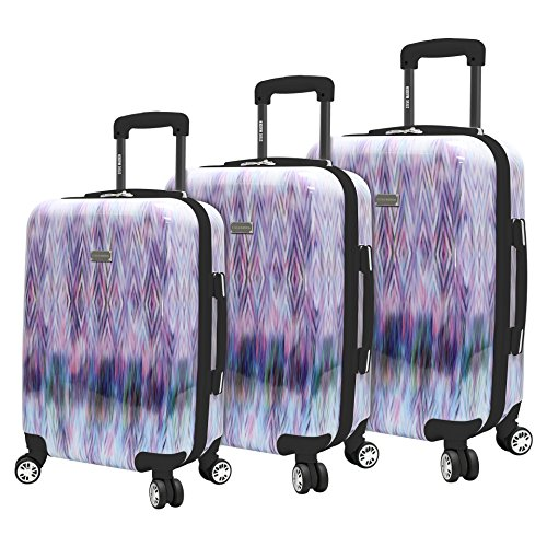 Steve Madden Luggage Collection - 3 Piece Hardside Lightweight Spinner Suitcase Set - Travel Set includes 20 Inch Carry On, 24 inch and 28 Inch Checked Suitcases (Diamond)