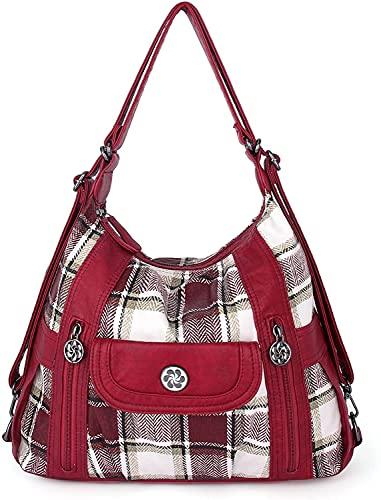 angel kiss Satchel Handbag for Women, Ultra Soft Washed Vegan Leather Crossbody Bag, Shoulder Bag, Tote Purse (A-0118-5G#35/N162#20-RED/RED)