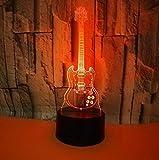 Guitarra Creativa Luz De Noche 3D Colorido Usb Led Regalo Atmósfera Arte Accesorios De Iluminación 3D Luminaria De Mesa Lámparas De Luces Para Niños
