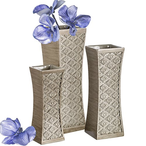 Dublin Flower Vase Set of 3 - Centerpieces for Dining Room Table, Decorative Vases Home Decor Accents for Living Room, Bedroom, Kitchen & More Packaged in Gift Box (Brushed Silver)