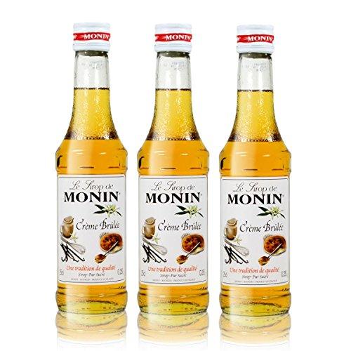3x Monin Créme Brûlée Sirup, 250 ml Flasche - für Cocktails, zum Kaffee oder Kochen