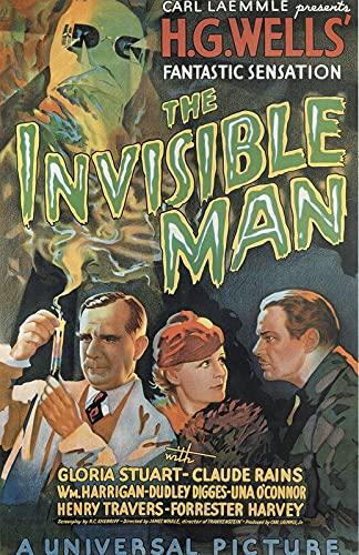 The Invisible Man 1933 c4287 A3 Canvas - Estirado, listo para colgar (16/12 inch)(41/31 cm) - Película Película Decoración de pared Arte Actor Actriz Regalo Anime Auto Cinema Room Decoración de pare