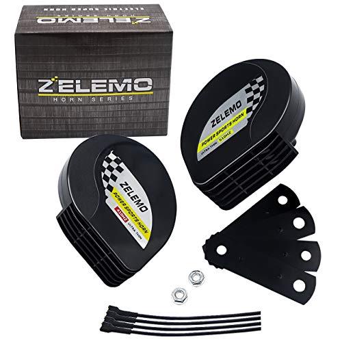 ZELEMO Compact Horn 12v Waterproof Ultra-Thin Loud Dual-Tone Electric Snail Horn Kit for 12v Truck Car Motorcycle Pickup RV SUV MPV Vans