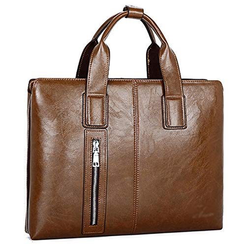 Pinle Mens PU Leather Briefcase 15 Inch Laptop Satchel Messenger Bag Ipad Bag Office Briefcase for Work Office Gifts for Him (Color : Dark brown)