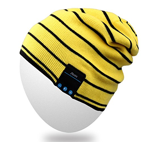 Rotibox Washable Slouchy Bluetooth Beanie Hat Cap w/Wireless Bluetooth Headphone Headset Earphone Speakers Mic for Exercise Lifestyle Sports [Running Skiing Skating Hiking - Yellow