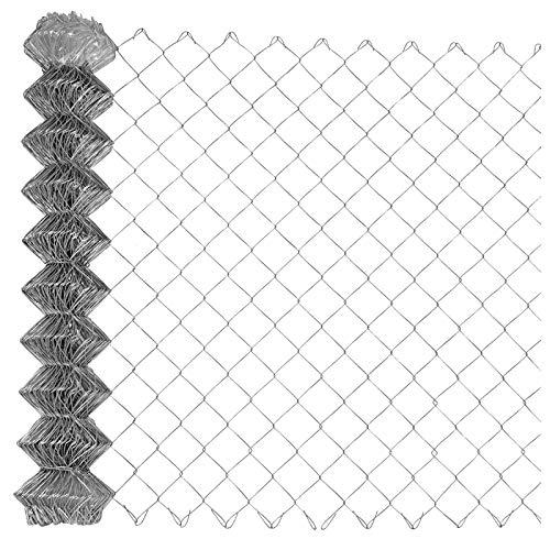 Garmix Maschendrahtzaun Gartenzaun Viereckgeflecht Zaun Verzinkt 65x1,8mm (150cm x 15m)