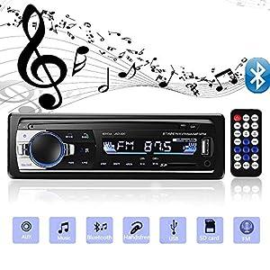 Andven Autoradio Bluetooth, 4×60W Manos Libres Radio Estéreo de Coche, Apoyo de Reproductor MP3, Llamadas Manos Libres, Función de Radio y de Archivo