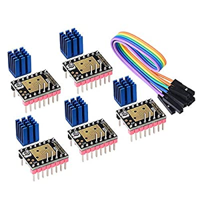 PoPprint TMC2208 V3.0 Stepper Motor Driver Module with Heat Sink Have UART Mode Compatible with Ramps1.4 or MKS Board SKR V1.3 for 3D Printers(Pack of 5pcs) (STEP/DIR)