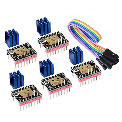 PoPprint TMC2208 V3.0 STEP Schrittmotortreibermodul mit Kühlkörper Kompatibel mit Rampen 1.4 oder MKS Board SKR V1.3 für 3D-Drucker (STEP/DIR)