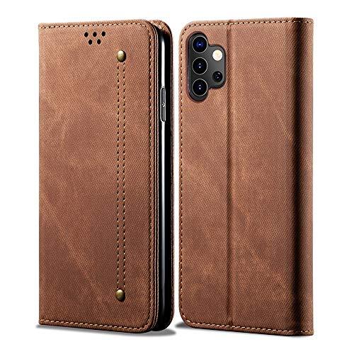 Happy-L Funda para Samsung Galaxy A32 5G, piel sintética con textura de sarga y tarjetero, color marrón
