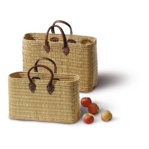 Einkaufstasche JONK aus Stroh mit Ledergriffen 3690/2-3L - Shopper (46 x 17 x 30/43 cm)