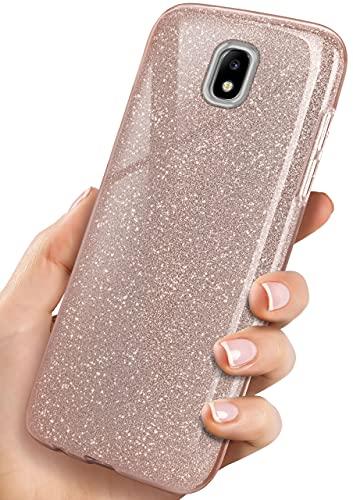 ONEFLOW Glitter Hülle kompatibel mit Samsung Galaxy J5 (2017) Hülle Glitzer Stoßfest, Silikon Schutzhülle dünn, Handyhülle Diamant Strass, Glitzerhülle mit Bling Sparkle - Roségold
