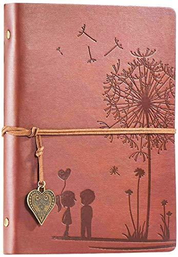 Diario di Viaggio Diario Notebook Vintage A5 Notebook in Pelle Ricaricabile 100 Fogli   200 Pagine 80GSM Carta senza Acidi Migliore idea Regalo (Marrone, A5 21x14.5cm)