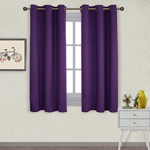 NICETOWN Triple Weave Home Decoration Thermal Insulated Solid Ring Top Blackout Curtains/Drapes for Bedroom(Set of 2, 42 x 63 Inch, Royal Purple)