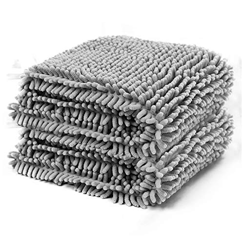 PETCUTE Asciugamano Cane Super Assorbente Asciugamani da Bagno per Cani Asciugatura Rapida Durevole Asciugamano per Animali Domestici(Grigio XL-60 * 85cm)