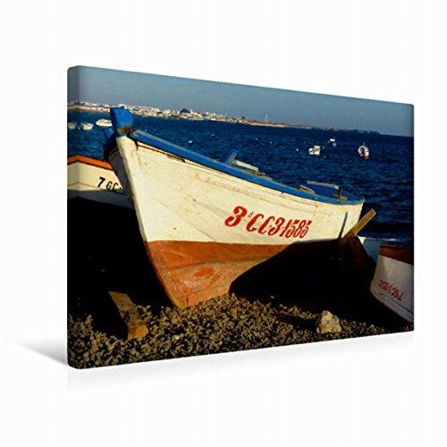 CALVENDO Premium Textil-Leinwand 45 cm x 30 cm quer, Boote auf Lanzarote | Wandbild, Bild auf Keilrahmen, Fertigbild auf echter Leinwand, Leinwanddruck: Auf große Fahrt, Kapitän Mobilitaet Mobilitaet