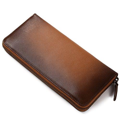 [ラファエロ] Raffaello 一流の革職人が作る スフマート製法で染色したメンズラウンドファスナー長財布