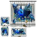 3D Dolphin Shower Curtain Set for Bathroom, Ocean Fish Bathroom Shower Curtain for Kids, Funny Sea Shower Curtain with Rugs and Mats Bathroom Decor (71 Inch x 71 Inch) (R4)