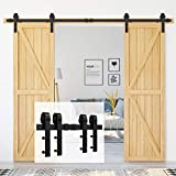 Homlux 8ft Heavy Duty Sturdy Sliding Barn Door Hardware Kit Double Door - Smoothly and Quietly - Simple and Easy to Install - Fit 1 3/8-1 3/4' Thickness Door Panel(Black)(J Shape Hangers)