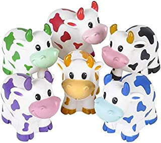 Rhode Island Novelty 2 Inch Colorful Rubber Water Squirting Cows Pack of 24