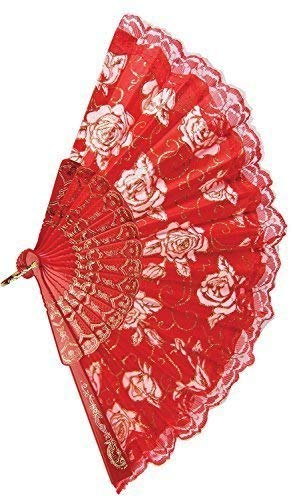 Fancy Me pour Filles Et Femmes Rouge Floral Espagnol Éventail Costume Déguisement Costume Accessoire - One Size