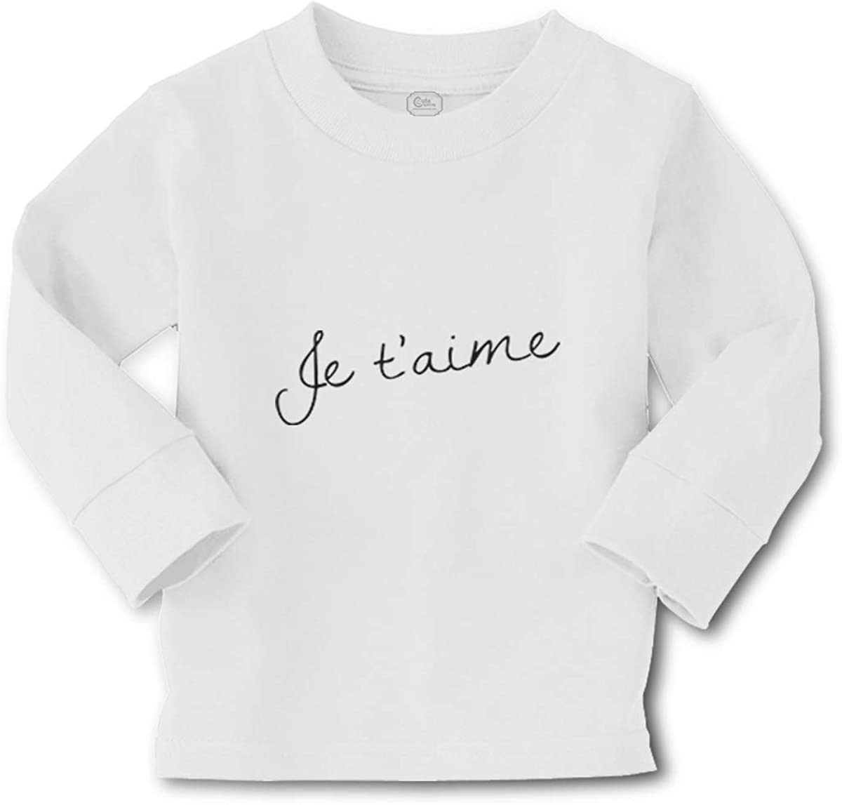 Kids Long Sleeve T Shirt Je Taime Valentines Love Cotton Boy & Girl Clothes