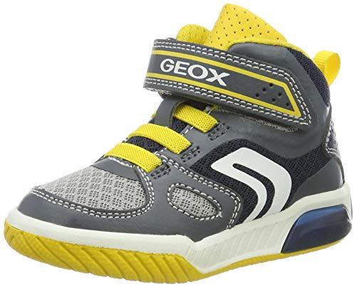 Geox Jungen J INEK BOY A Hohe Sneaker Grau (Grey/Yellow C0030) 35 EU