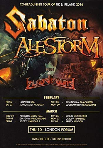 Generic Sabaton - Alestorm UK & Irland 2016 Tour Foto Poster Bloodbound Bluse 01 (A5-A4-A3) - A3