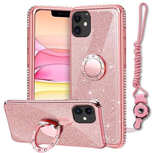 XTCASE Funda para iPhone 12 / iPhone 12 Pro con Cuerda, Glitter Cristal Brillante Diamante Brillo Carcasa 360 Grados Soporte Anillo Giratorio Silicona TPU Case Anti-Rasguños - Rosa