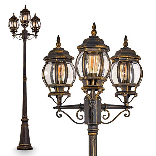 'Outdoor lamppost Lentua, Antique Style Candelabra, Made of Brown Metal, 3-arm Path Light, 228 cm, Retro/Vintage Garden lamp for 3 x E27 Light-Bulbs, Each max. 100 Watt, IP44'