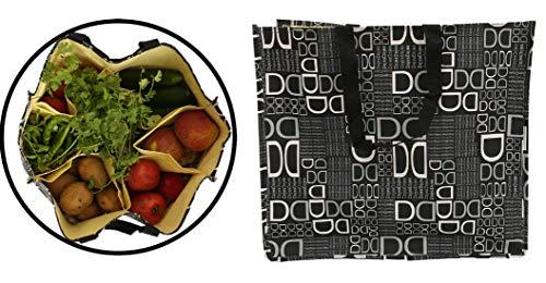 Kuber Industries D Print Rexene Grocery Bag, Black