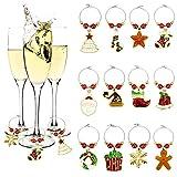 EMAGEREN 12 PCS Etiquetas de los encantos de la Copa de Vino de Navidad Anillos del Marcador de la Bebida (árbol de Navidad/Bell/Santa/bastón de Caramelo/Media/Guirnalda)