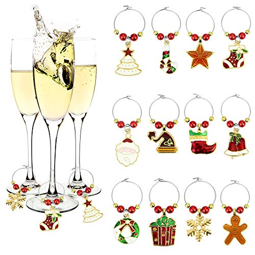 EMAGEREN 12 Stücke Weihnachten Glas Charms Wein Charms Weihnachtsthema Getränkeglas Tags Glasmarkierer Wein Glas Ring Süße Weinglas Marker Weingläser Set für Weihnachtsfeier Dekoration Lieferungen