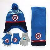 LINLIN Guantes Vengadores Superhero Casquillo Hecho Punto Bufanda Capitán América otoño Invierno Caliente Conjunto 3 Piezas Regalo Navidad Dibujos Animados Bufanda Bufanda Sombrero,Blue-3~6year Old