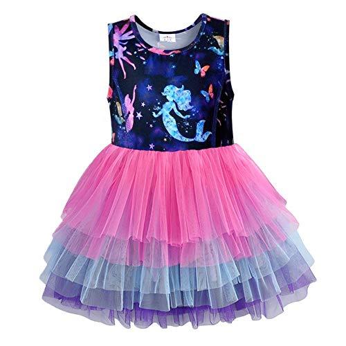 VIKITA Girls Summer Cute Sundress Short Sleeve Casual Polyester Dress SH4593 6T