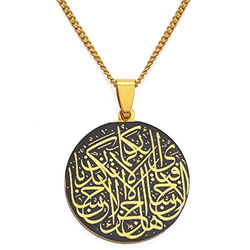 Oración árabe Sagrado Corán Verso Corán Collares pendientes Acero inoxidable Islam Joyería musulmana-B_45cm o 17.7 pulgadas
