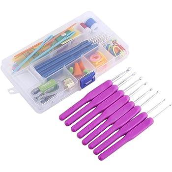 Agujas de tejer, 16 tamaños de ganchillo agujas de punto, juego de manualidades en estuche (morado): Amazon.es: Hogar