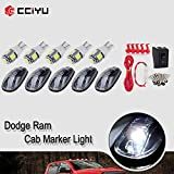 cciyu 5 Pack Cab Roof Marker Running Clearance Light Covers + LED Replacement fit for 2003-2017 for Dodge for Ram 1500 2500 3500 4500 5500 Cab Marker cover case+5050SMD LED Bulb+Wiring pack (clear)