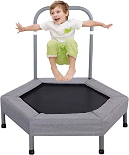 LBLA 100 cm barn mini studsmatta med handtag, elastisk rempolin, säker och hållbar barnstudsmatta med skumgummiöverdrag (grå)