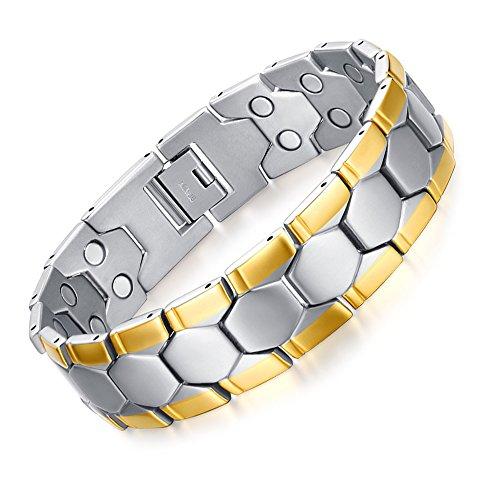 JFUME Men Bracelet 18K Gold Plated Natural Pain Relief Link Bracelet for Arthritis and Joint Pain Men 8.5