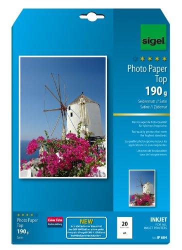 SIGEL IP684 InkJet Fotopapier Top, A4, 20 Blatt, seidenmatt, hochweiß, 190 g