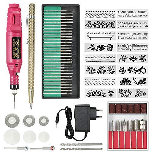 70pcs kit de Tampon de perceuse à Ongles électrique 220V Stylo Micro graveur Mini-Outil de Gravure de Vibration Bricolage Machine Polonaise Portable (Prise UE)