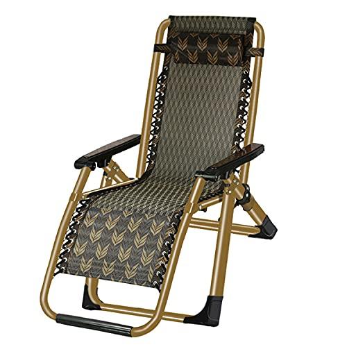 YUYTIN Sillas de salón para Fuera, Plegable Patio Ajustable Wicker Rattan Chaise Lounge sillón para Piscina al Aire Libre Camping de Playa, Conjunto de 2